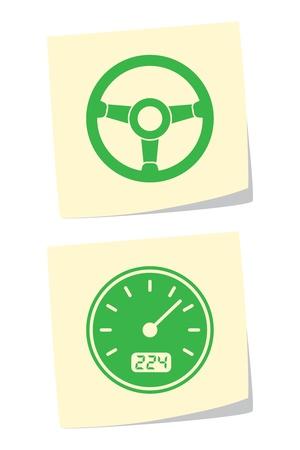 Wektor koła i prędkościomierz ikony Ilustracje wektorowe