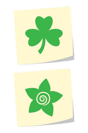 Vector Clover and Flower Icons Stock Vector - 9370416