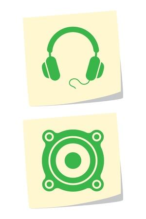 Vector Headphones and Speaker Icons Stock Vector - 9370418