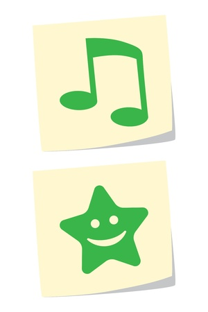 Vector Note and Star Icons Vector