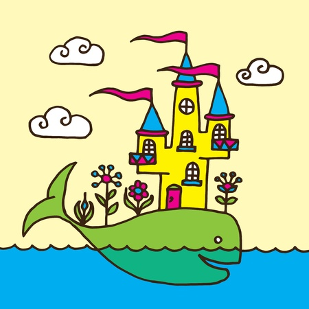 Whale and Castle Childrens Drawing Vector