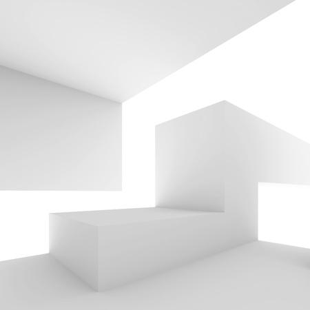futuristic interior: White Abstract Architectural Shape Stock Photo