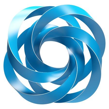simbolo infinito: Forma abstracta azul aislado en blanco
