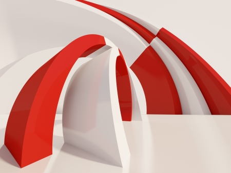 3d Illustration of Red Abstract Architecture Background Stock Photo