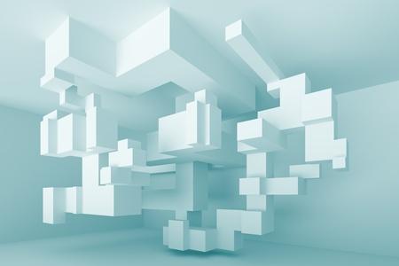 3d abbildung abstrakt blau Interior Design Standard-Bild - 10638992