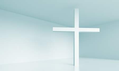 church 3d: Christian Cross Stock Photo
