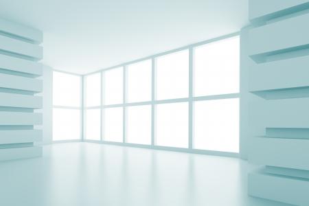 futuristic interior: 3d Illustration of Blue Abstract Interior Design