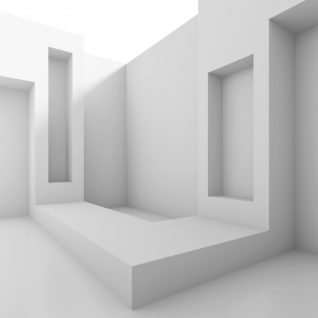3d White Abstract Architecture Background Фото со стока