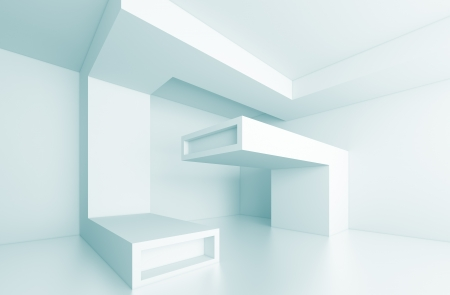 3d Blue Futuristic Interior Concept photo