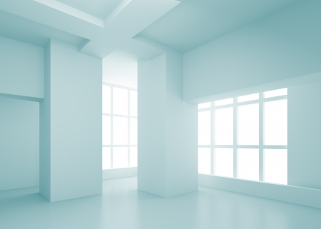 modern interior room: 3d Blue Empty Room Concept