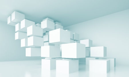 perspective room: 3d Blue Abstract Interior Design