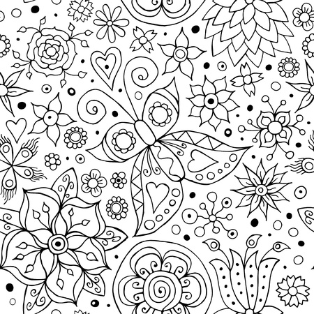 black and white leaf: Vector Abstract Seamless Flower Background