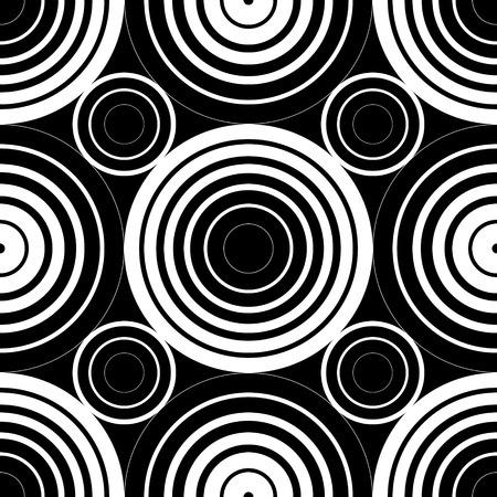 抽象的なシームレスな白黒円背景  イラスト・ベクター素材