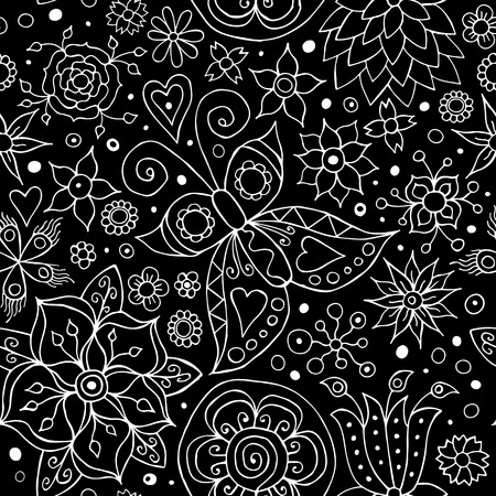 Vector Abstract Seamless Flower Pattern Vector