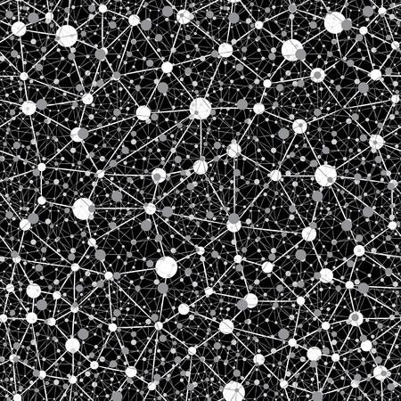 neural: Vector Seamless Abstract Monochrome Pattern