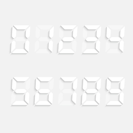 3d White Vector Numbers Set Vector