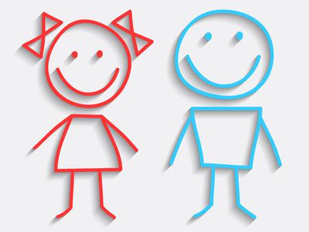 çocuklar: Vektör Boy ve Kız Simgeler Çizim