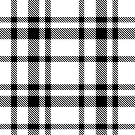 シームレスなタータン白黒パターン ベクトル