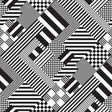 Ilustración monocromática sin costura patrón de líneas