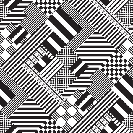 psychedelic background: Vector Monochrome Seamless Lines Pattern
