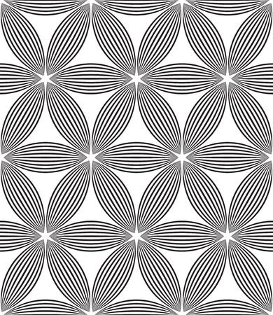 Vector Monochrome Seamless Flower Pattern Vector