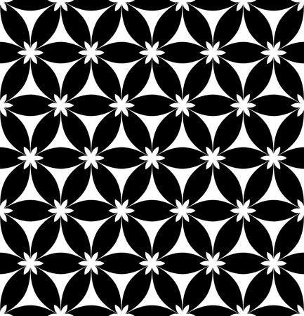 Vector Monochrome Seamless Flower Background Vector