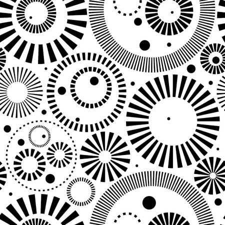 Vector Monochrome Seamless Rings Background