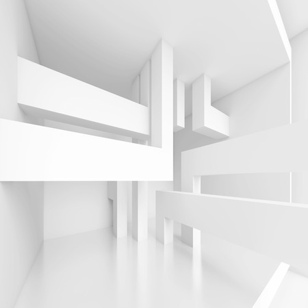 light columns: 3d Abstract Panoramic Interior Background Stock Photo