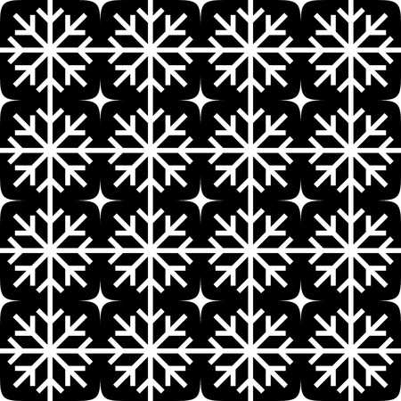 Vector Seamless Monochrome Snowflakes Pattern Vector