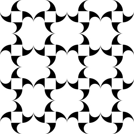 grid paper: Seamless Curved Shape Pattern. Vector Black and White Background