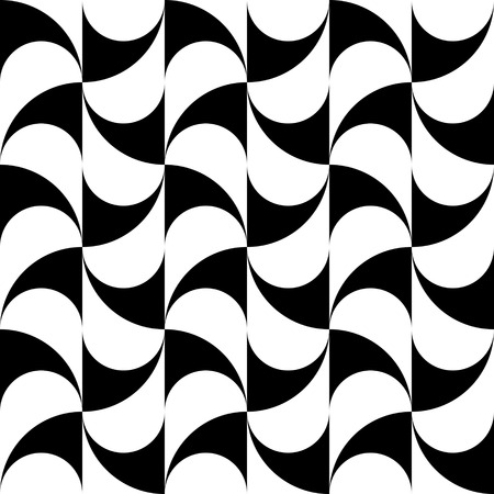 curved line: Seamless Curved Shape Pattern. Vector Black and White Background