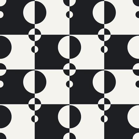 white background abstract: Abstract Circle and Square Pattern. Vector Seamless Black and White Background