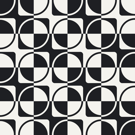 whie: Abstract Ring and Square Pattern. Vector Seamless Background in Black and Whie