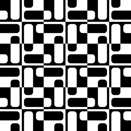 retro patterns: Abstract Square Pattern. Vector Seamless Monochrome Background. Regular Geometric Texture