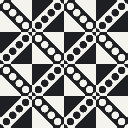 stripe pattern: Abstract Circle and Stripe Pattern. Vector Seamless Monochrome Background. Regular Checkered Texture
