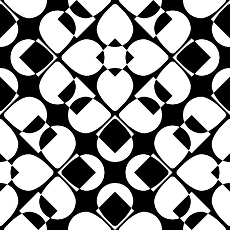 petal: Abstract Petal Pattern. Vector Seamless Background. Regular Black and White Texture