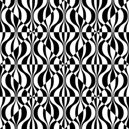cuadros blanco y negro: Resumen de onda y el patrón cuadrado. Fondo inconsútil del vector. Regular Negro y blanco Textura