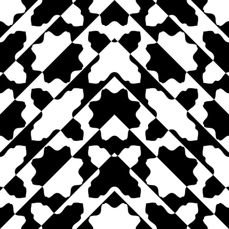 fabric patterns: Seamless Oriental Ornament. Abstract Black and White Background. Vector Geometric Pattern