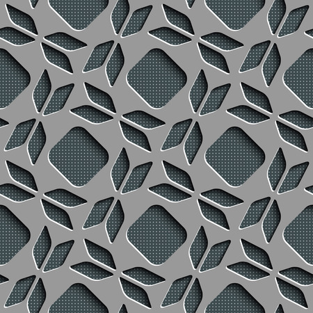 regular: Seamless Bow and Square Pattern. Vector Background. Gray Regular Texture Illustration