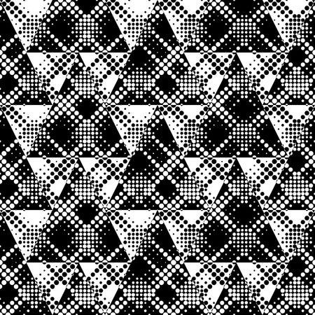 triangle pattern: Seamless Triangle Pattern. Vector Black and White Background