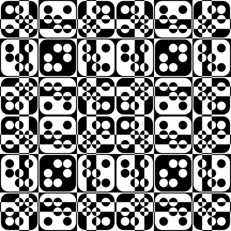 abstract black: Seamless Square and Circle Pattern. Abstract Black and White Background. Vector Regular Texture
