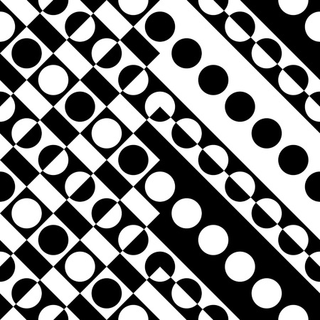 circle pattern: Seamless Circle Pattern. Vector Geometric Background. Regular Black and White Texture Illustration