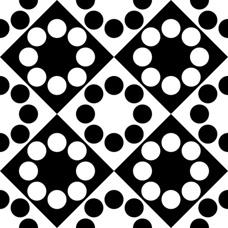 black circle: Seamless Square and Circle Pattern. Vector Black and White Background