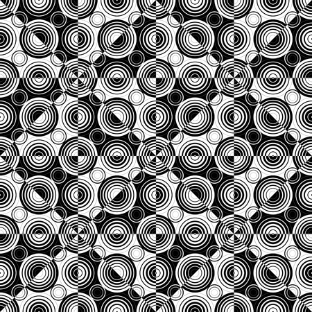normal: Seamless Circle and Triangle Background. Abstract Black and White Pattern Illustration