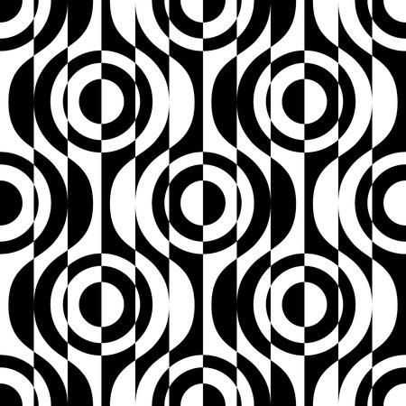 black damask: Seamless Circle and Stripe Pattern. Vector Geometric Background. Regular Black and White Texture Illustration