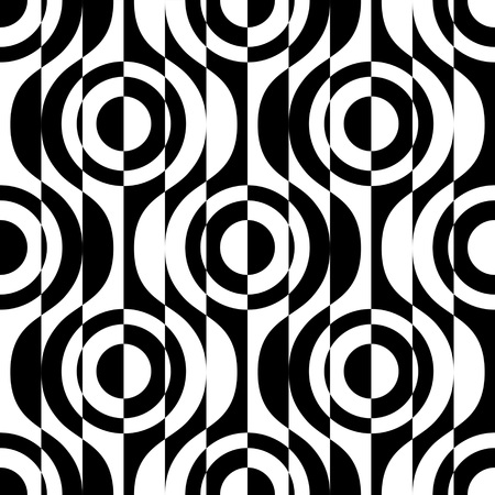 Seamless Circle and Stripe Pattern. Vector Geometric Background. Regular Black and White Texture Illustration