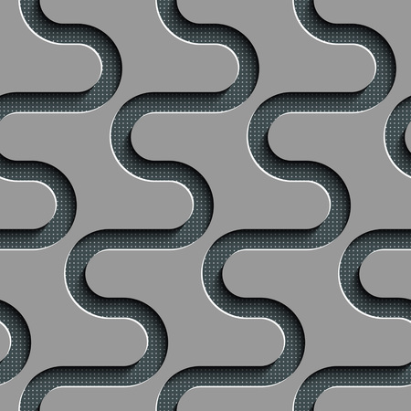 regular: Seamless Wave Pattern. Curved Shapes Background. Regular Gray Texture Illustration
