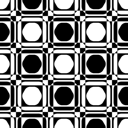 black background abstract: Seamless Square and Hexagon Pattern. Abstract Black and White Background. Vector Regular Texture