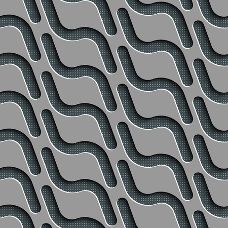 normal: Seamless Wave Pattern. Curved Shapes Background. Regular Gray Texture Illustration