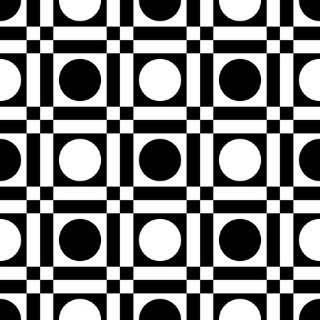 black background abstract: Seamless Square and Circle Pattern. Abstract Black and White Background. Vector Regular Texture